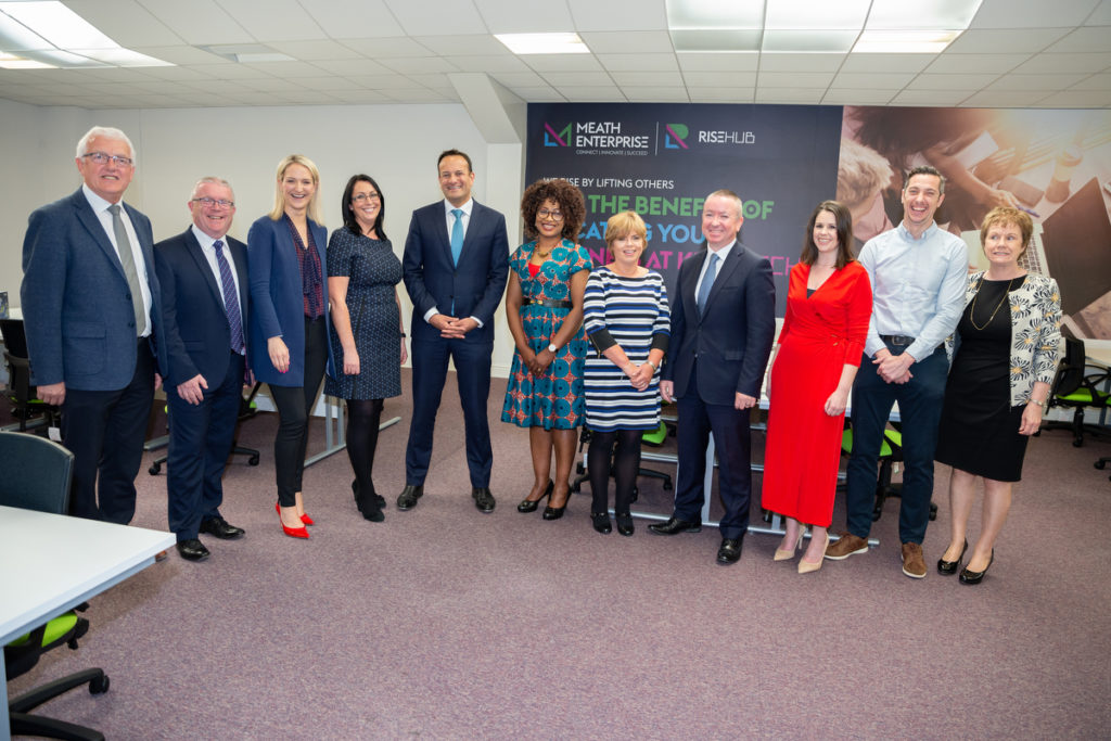 An Taoiseach Leo Varadkar  with the team from Meath Enterprise, Kells Tech Hub