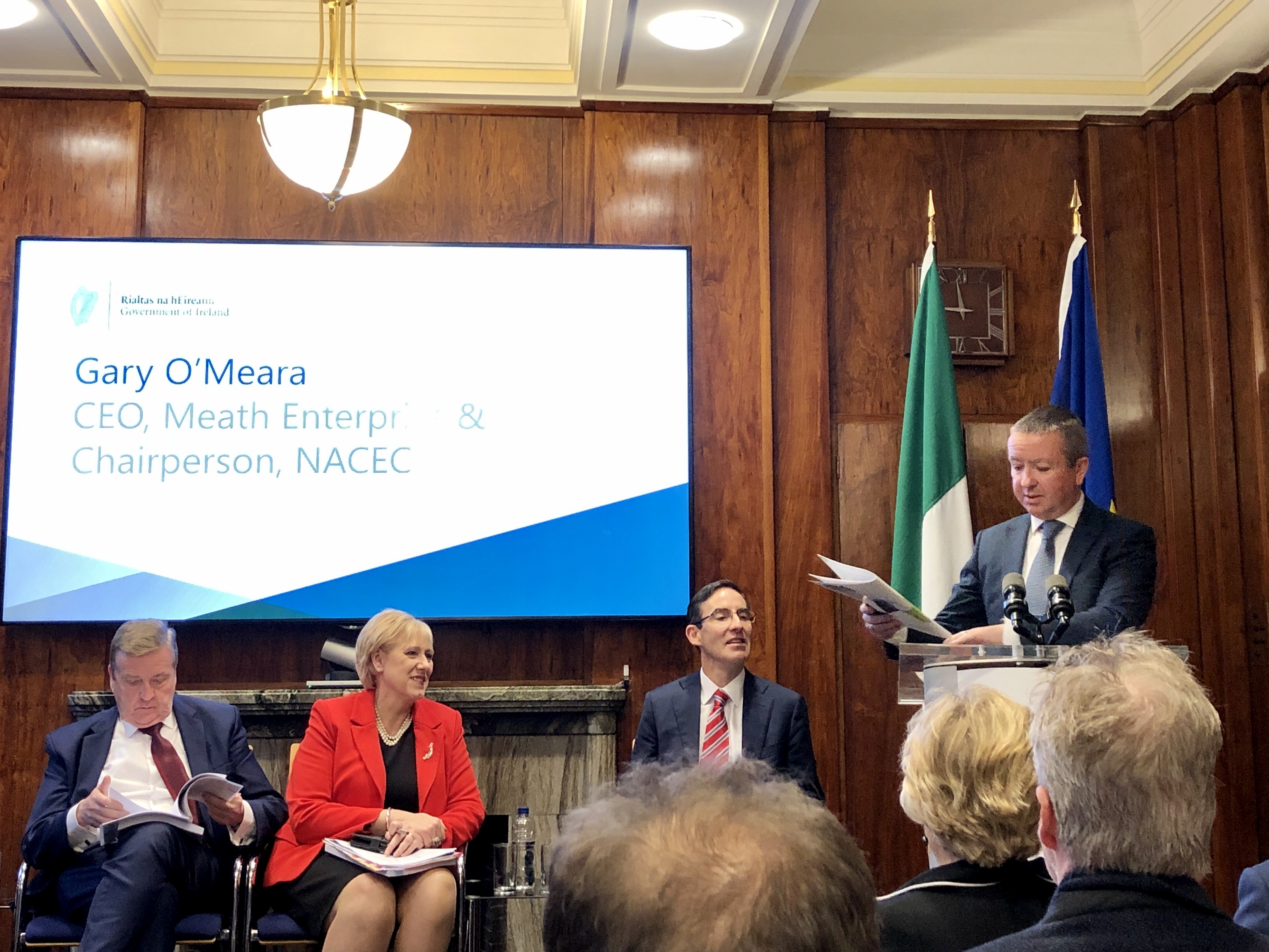 Gary O'Meara of Meath Enterprise presenting to OECD and the Department of Business, Enterprise and Innovation DBEI at the launch of the OECD review in October 2019