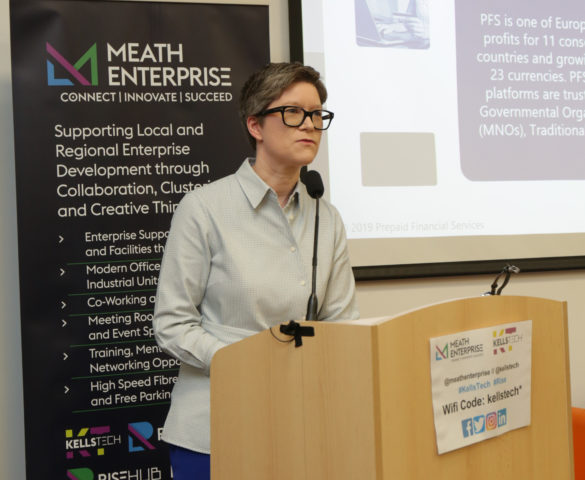 Marie O'Riordan from Prepaid Financial Services speaking at the Regional Enterprise Summit in Kells Tech Hub